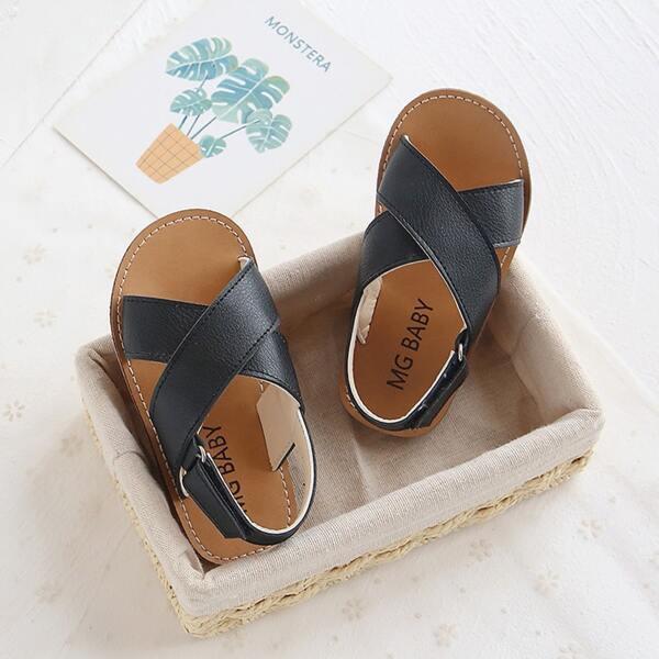 Toddler Girls Cross Strap Slingback Sandals, Black