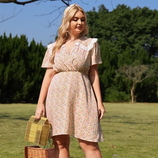 Платье размера плюс с цветочным принтом, Многоцветный