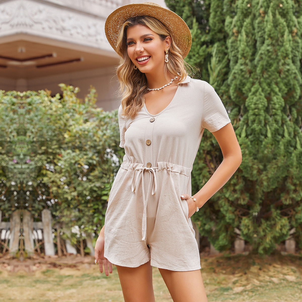 Solid Button Front Drawstring Romper