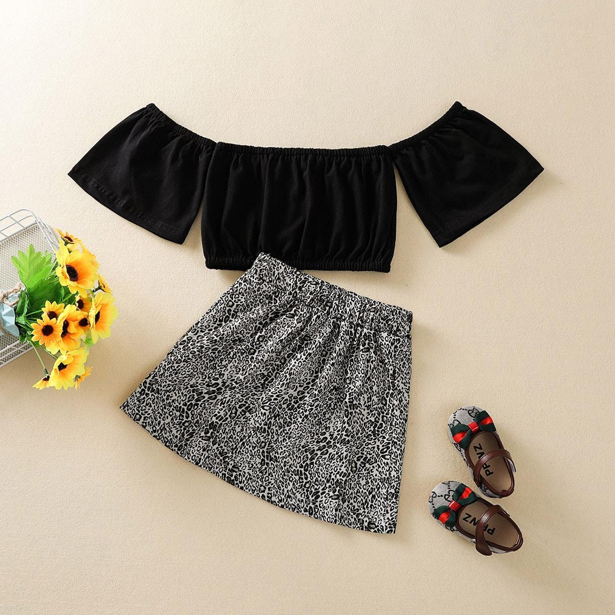 Toddler Girls Bardot Top & Cheetah Print Skirt
