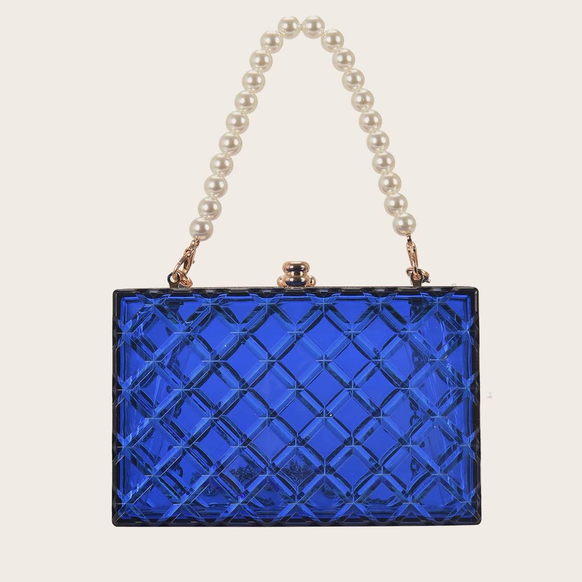 SHEIN / Metal Lock Faux Pearl Decor Box Bag