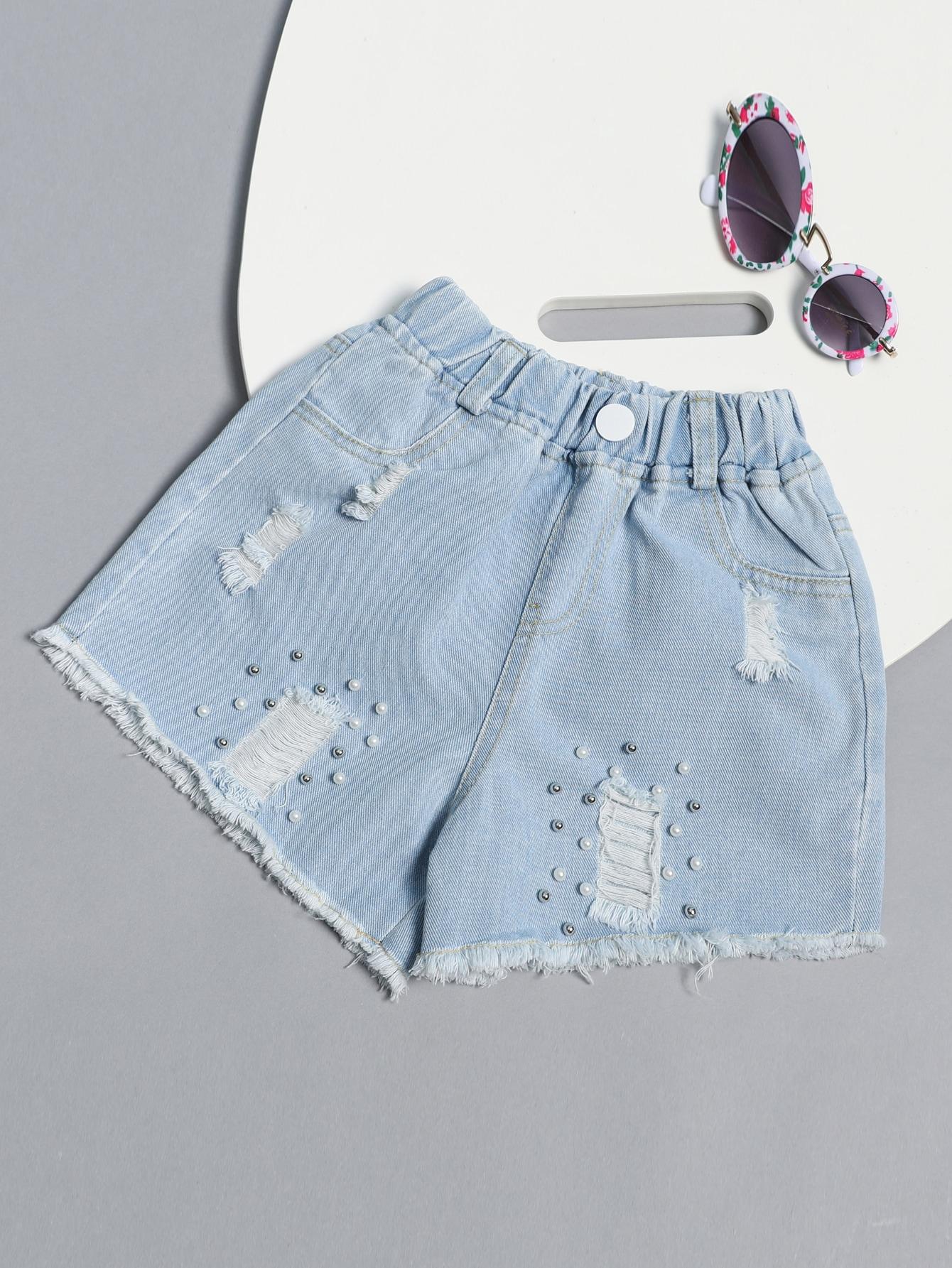 Girls Ripped Pearls Denim Shorts