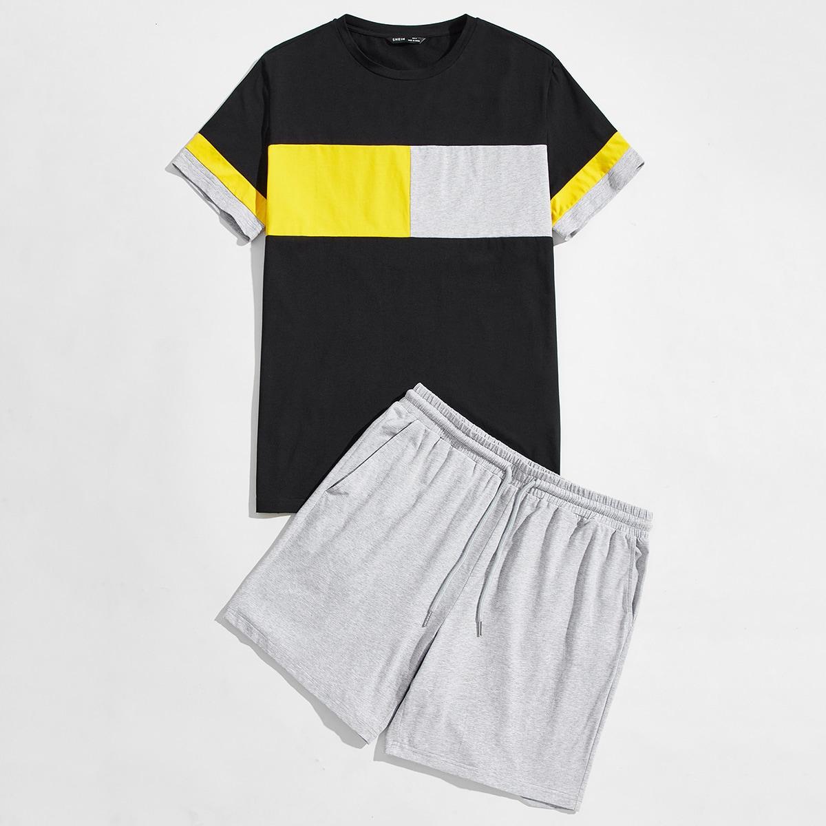 Conjunto de pijama camiseta de color combinado con shorts track con cordón