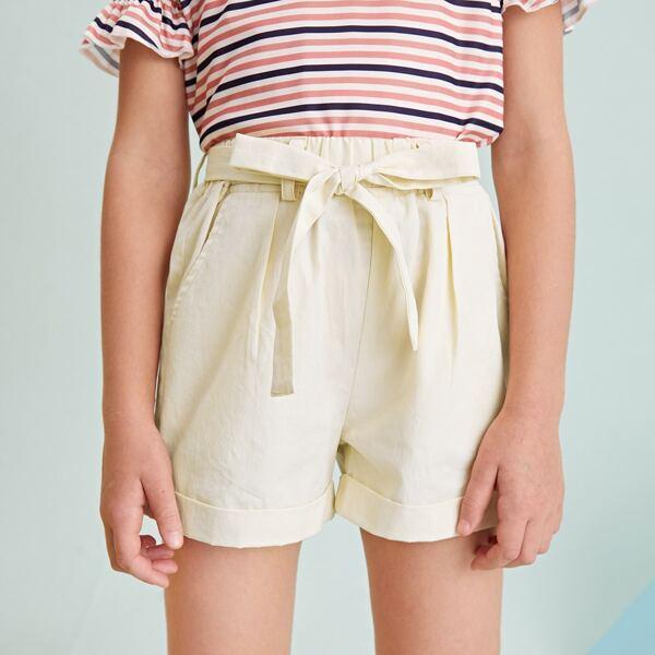 Girls Slant Pocket Cuffed Hem Belted Shorts, Beige