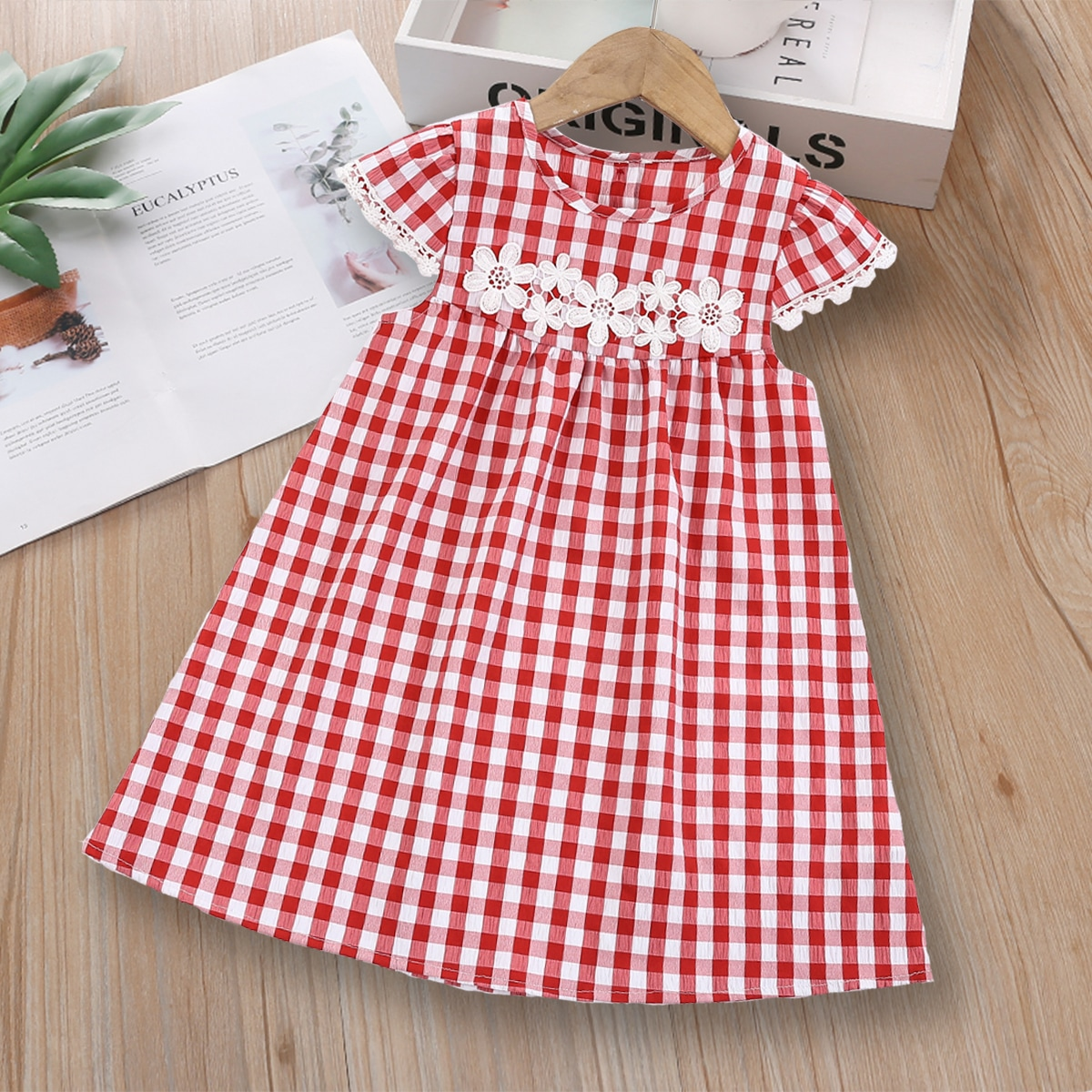 Toddler Girls Gingham Appliques Babydoll Dress, SHEIN  - buy with discount