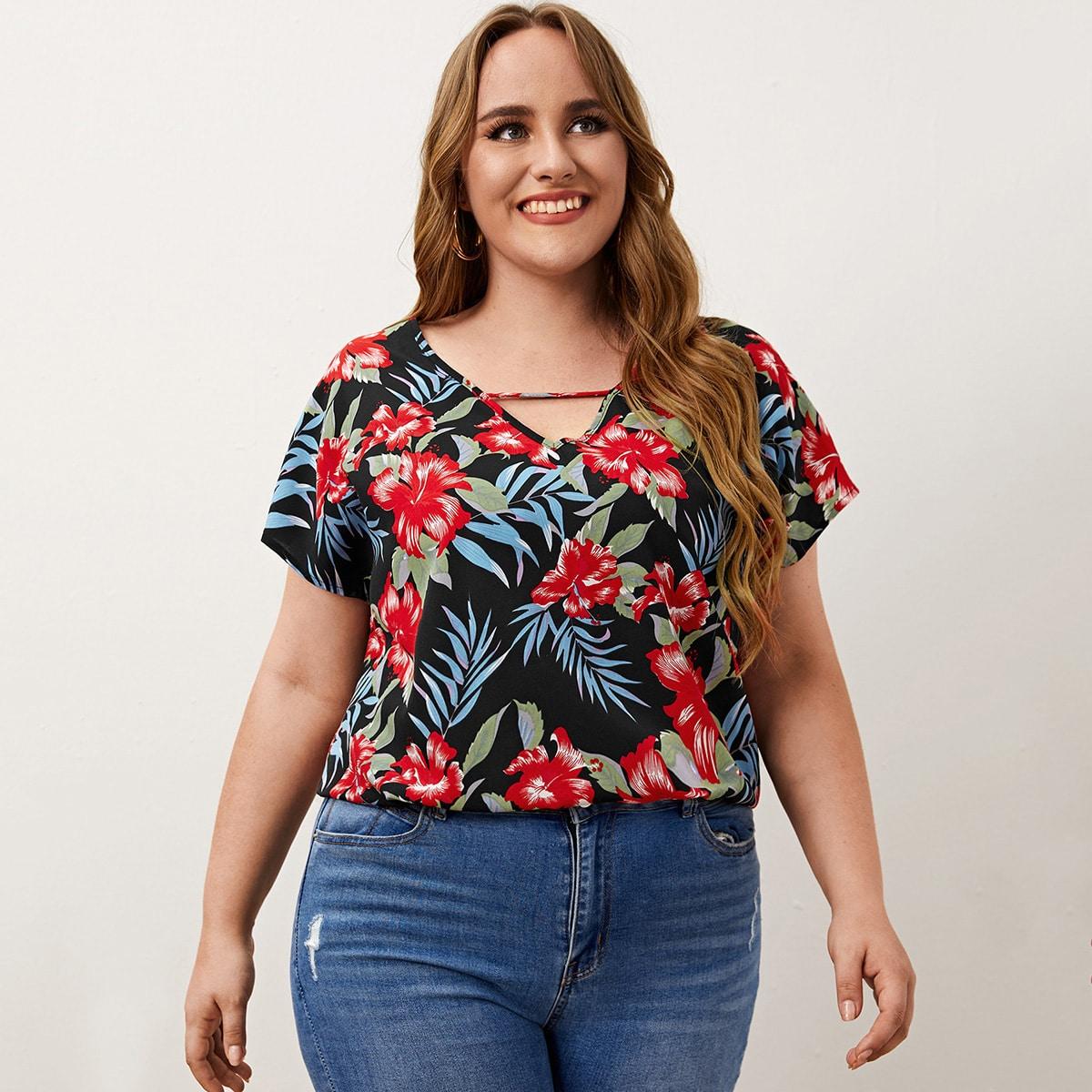 SHEIN Boho Tropisch Grote maat blouse