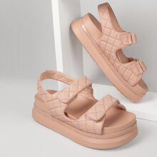 Quilted Pleather Dual Strap Platform Sandals