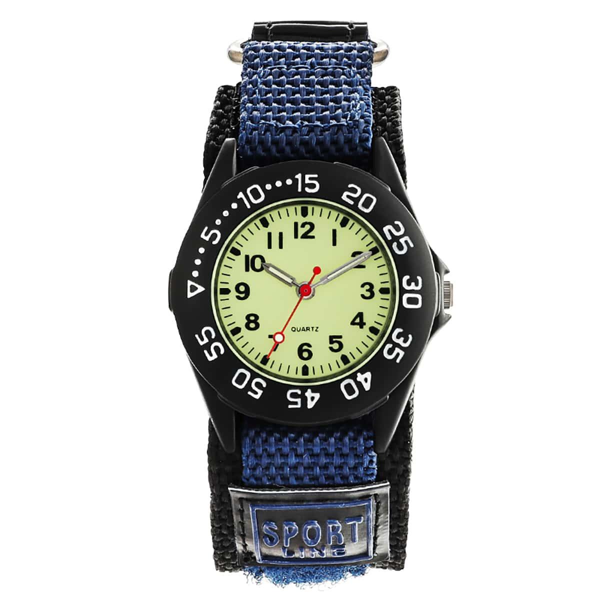 Kids Nylon Strap Round Pointer Quartz Watch