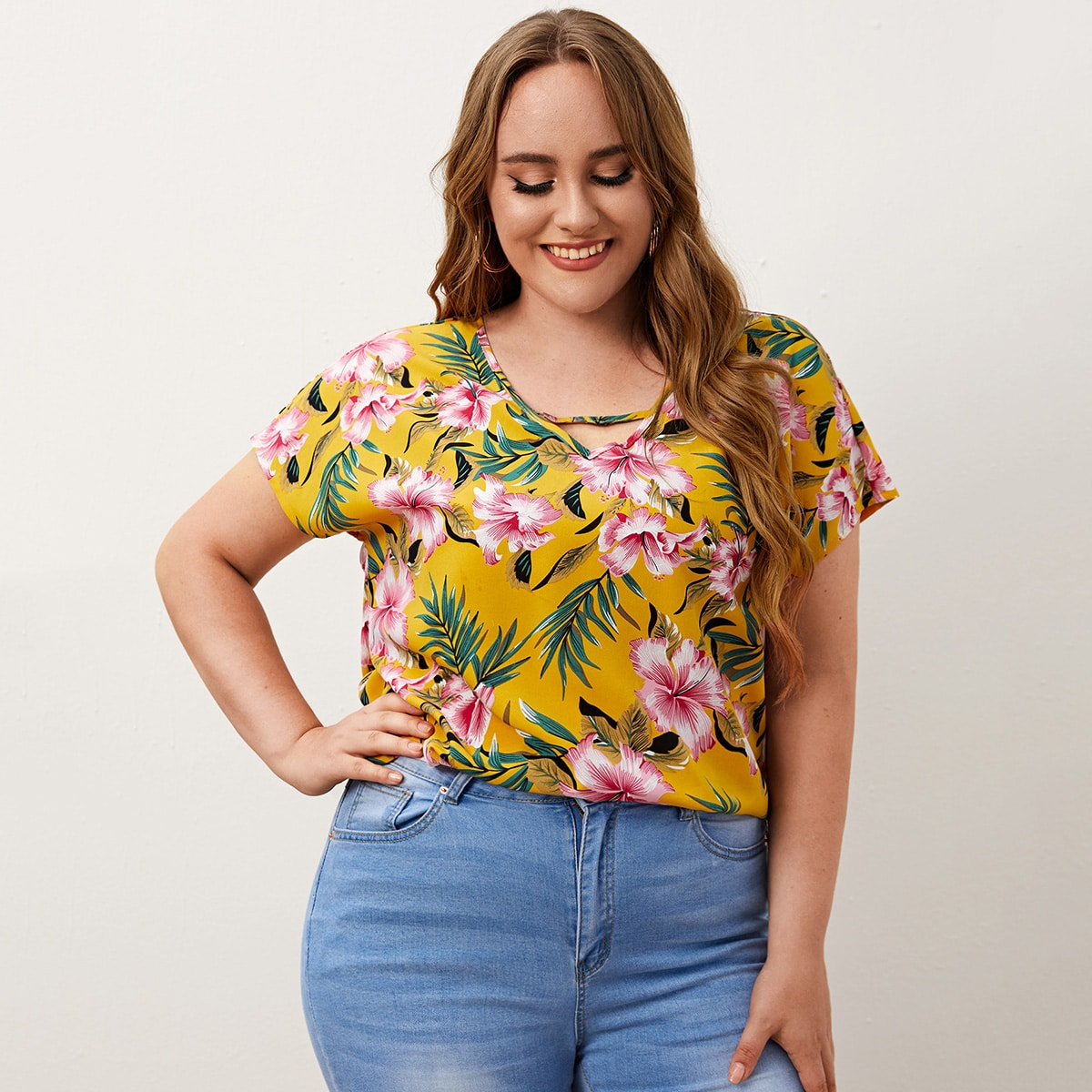 SHEIN Casual Tropisch Grote maat blouse