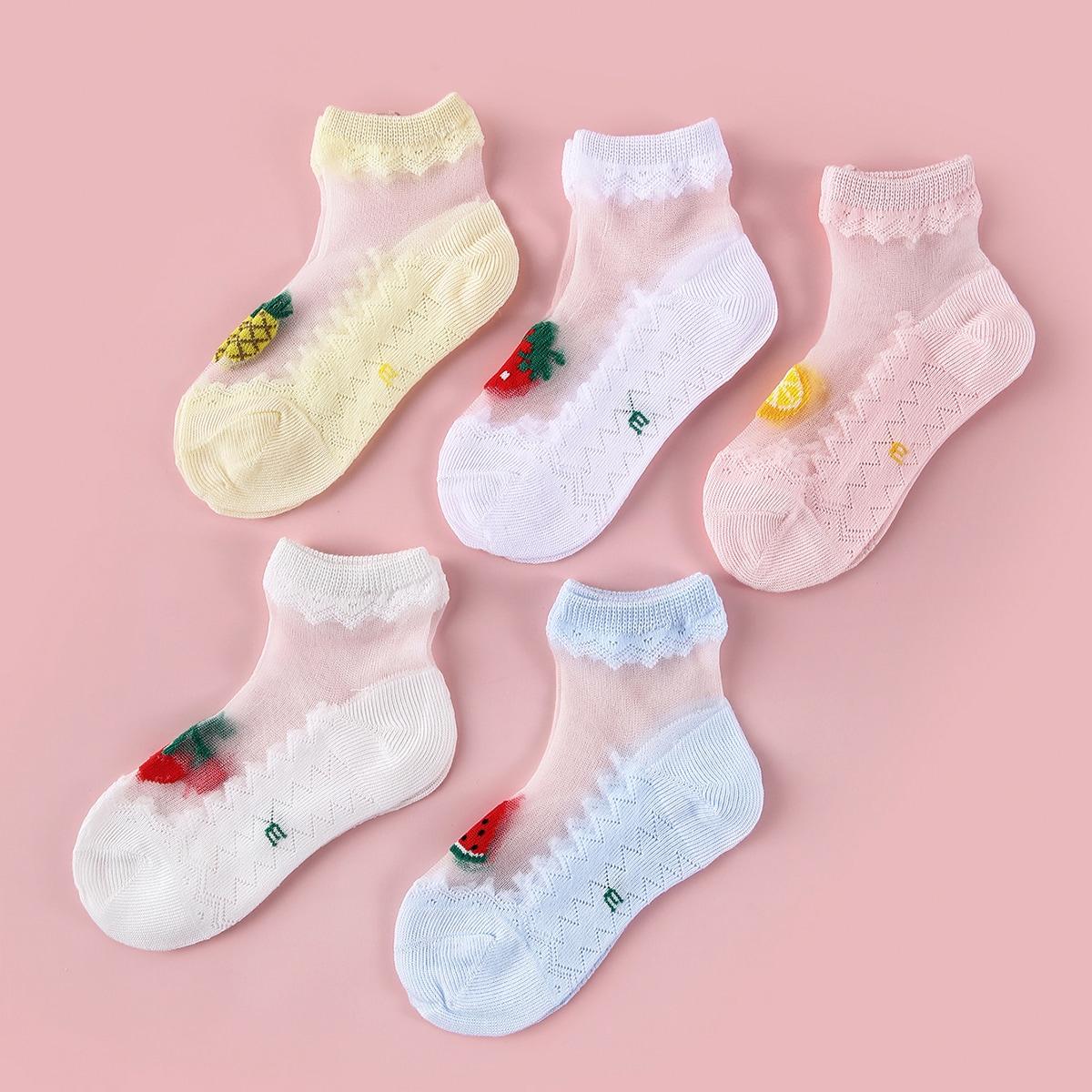 SHEIN / 5pairs Baby Fruit Pattern Socks