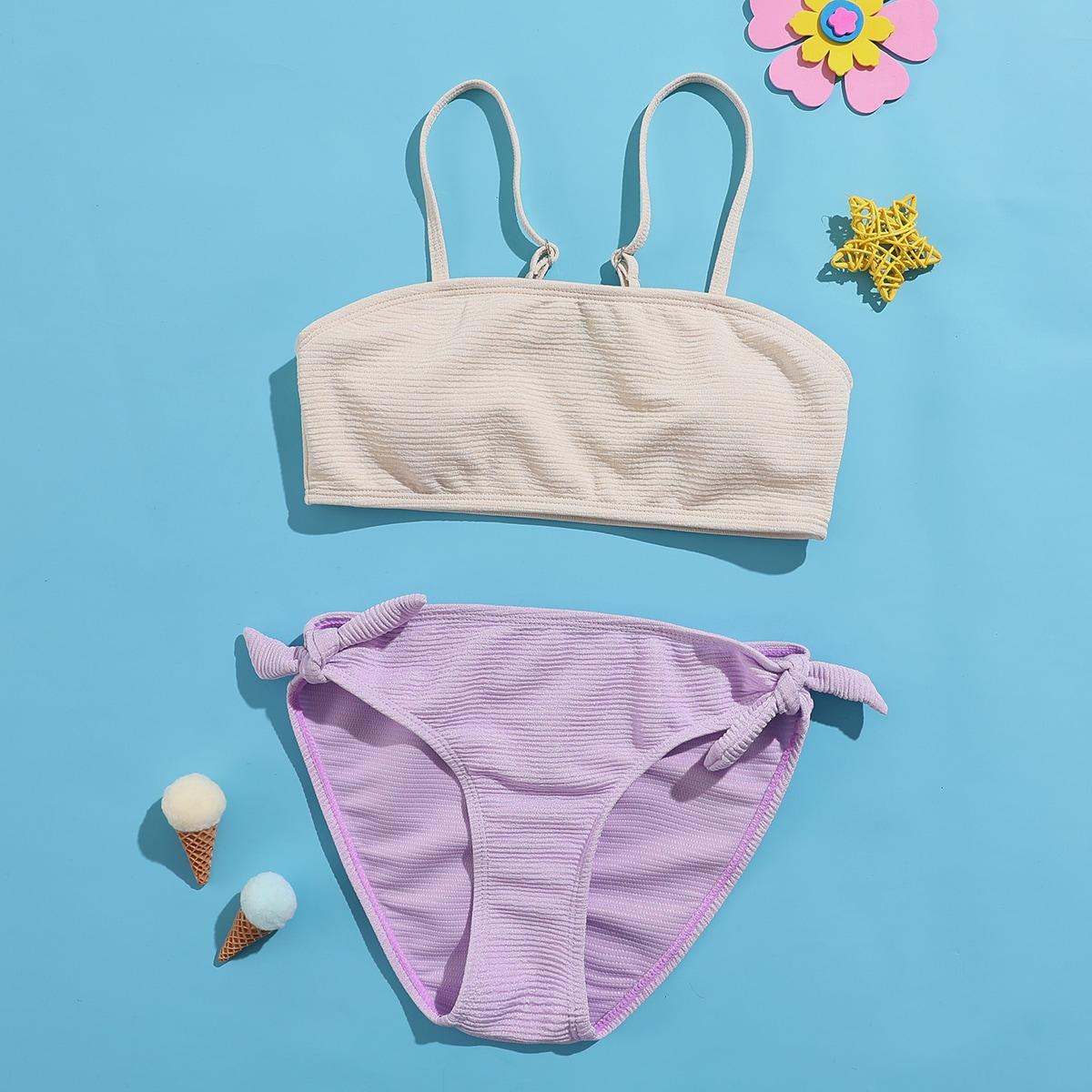 Двухцветный купальник бикини в рубчик для девочек