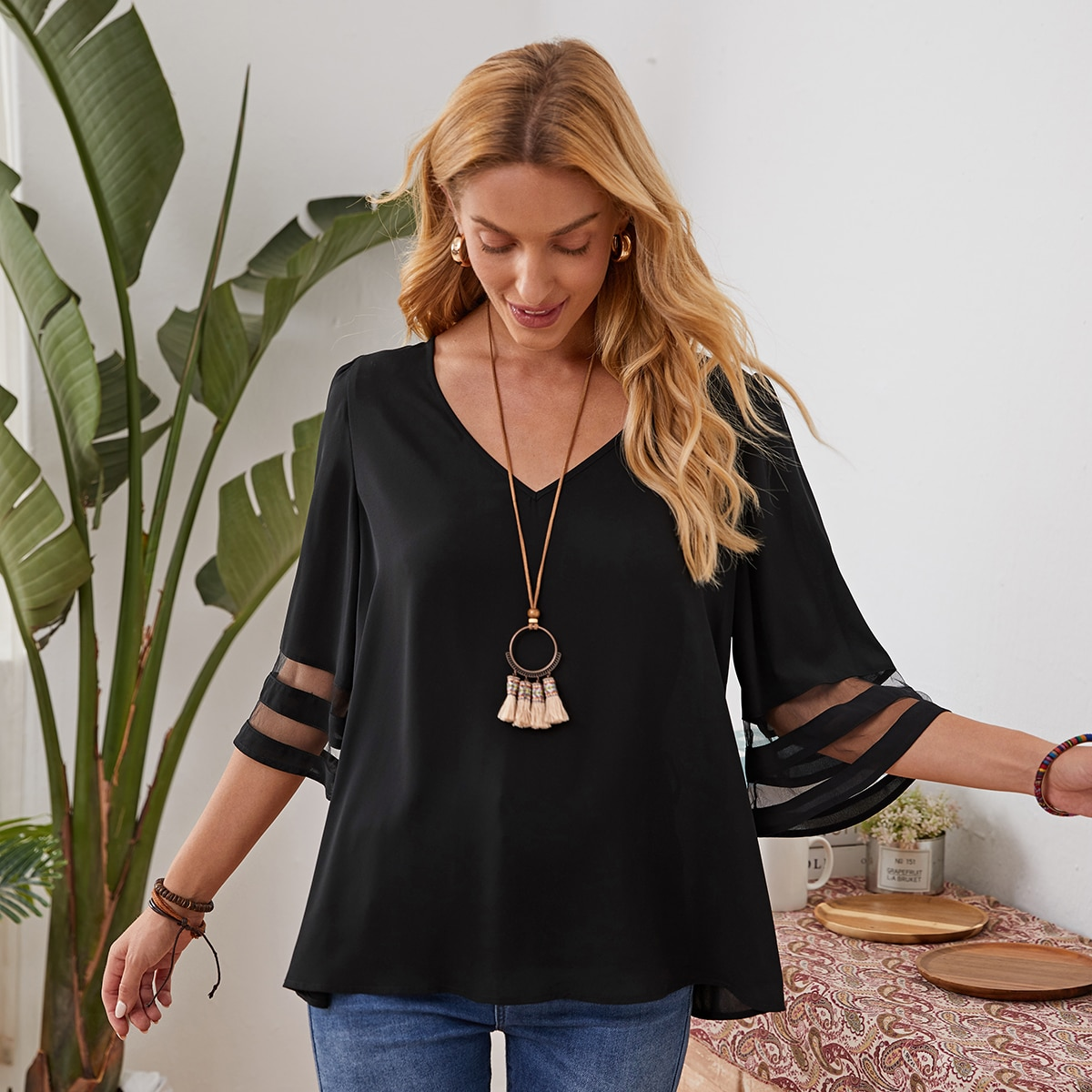 V-neck Sheer Mesh Insert Top, SHEIN  - buy with discount