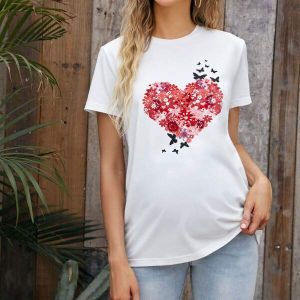 Maternity Butterfly & Floral Print Tee, White