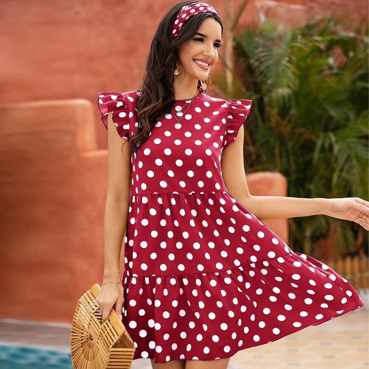 Платье с оборками в горошек без ободка для волос от SHEIN