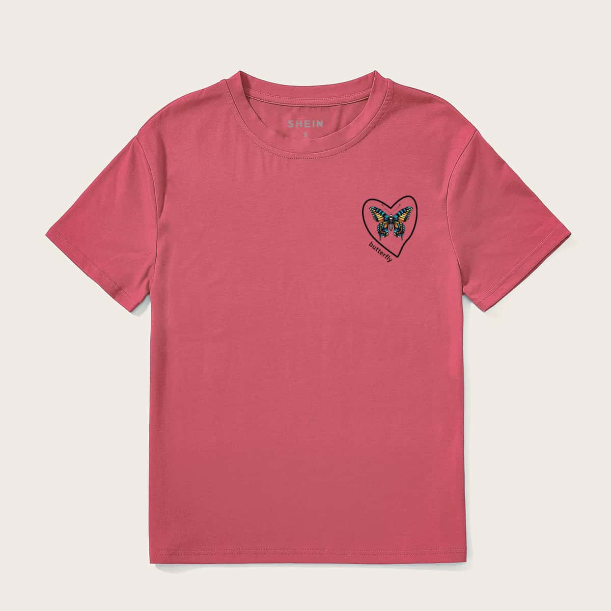 Butterfly And Heart Print Tee