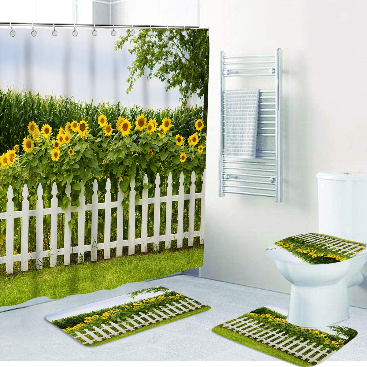 1 Stück rutschfeste Matte oder Duschvorhang mit Sonnenblumen Muster