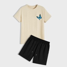 Guys Butterfly And Striped Tee & Shorts