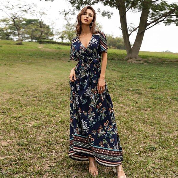 Surplice Front Plants Print Belted Dress, Multicolor