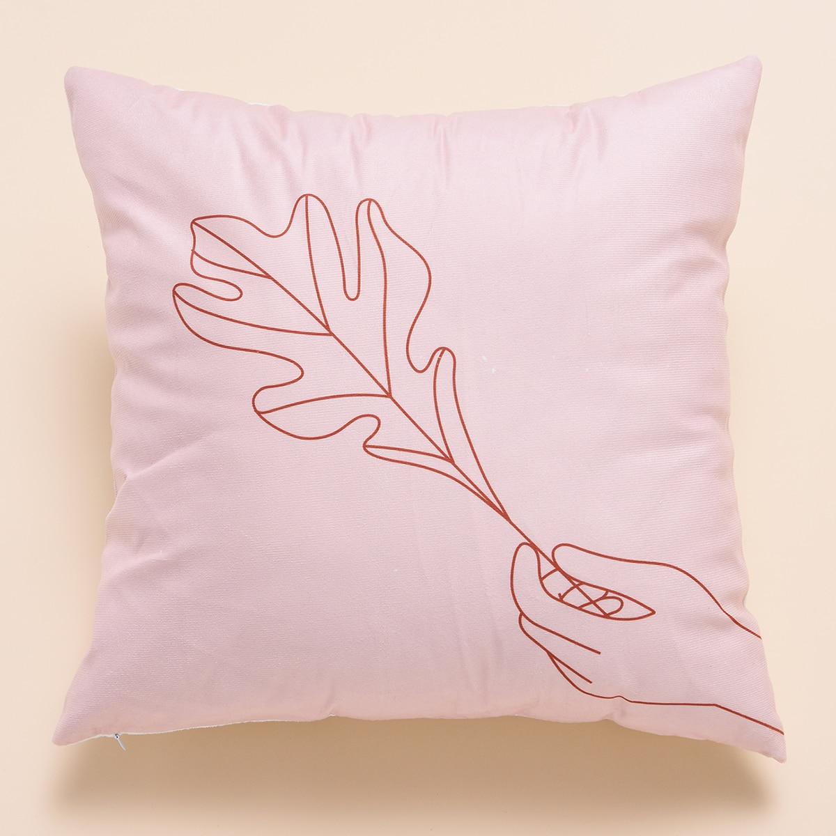 Чехол для подушки с принтом листьев без наполнителя