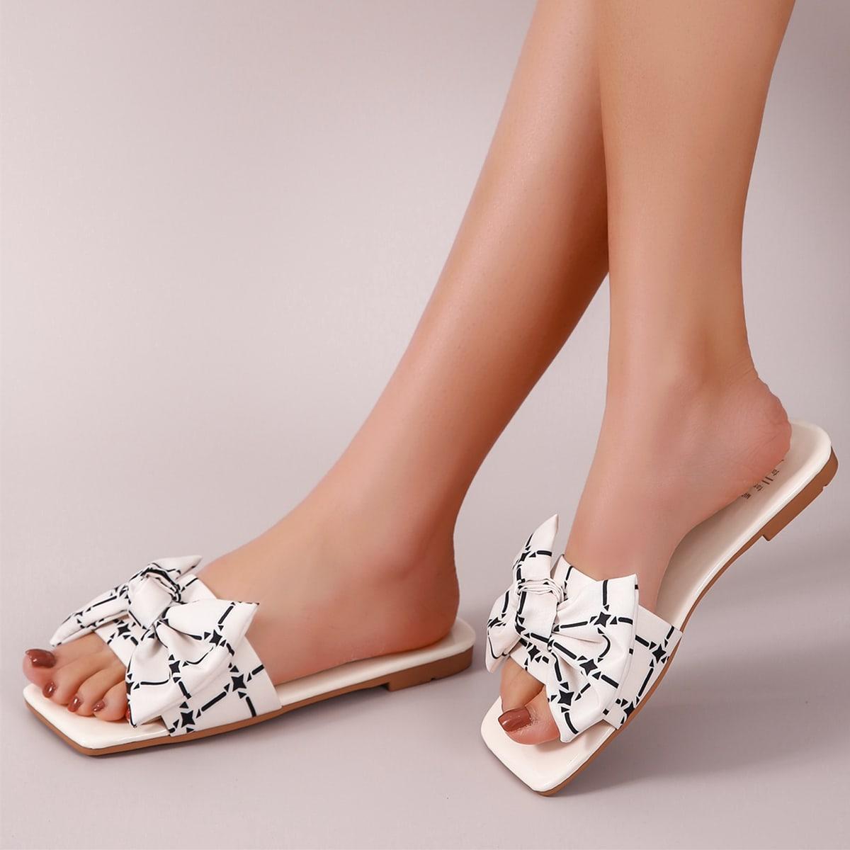 SHEIN Bow Decor Slide sandalen