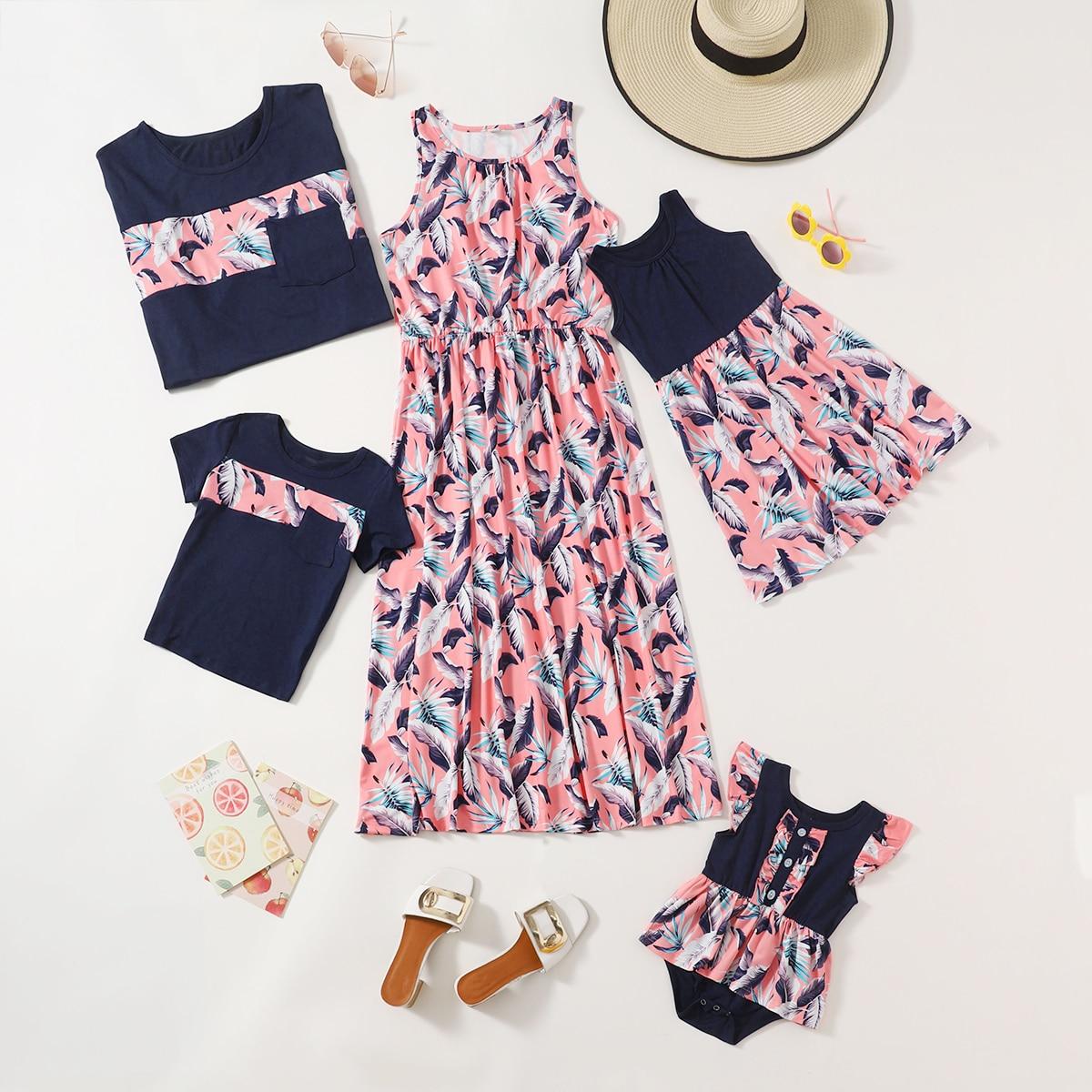 для девочек с тропическим принтом с оборкой Составной комплект Боди Платье от SHEIN