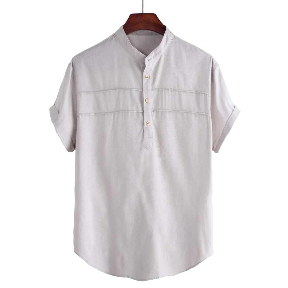 Men Stand Neck Half Button Shirt