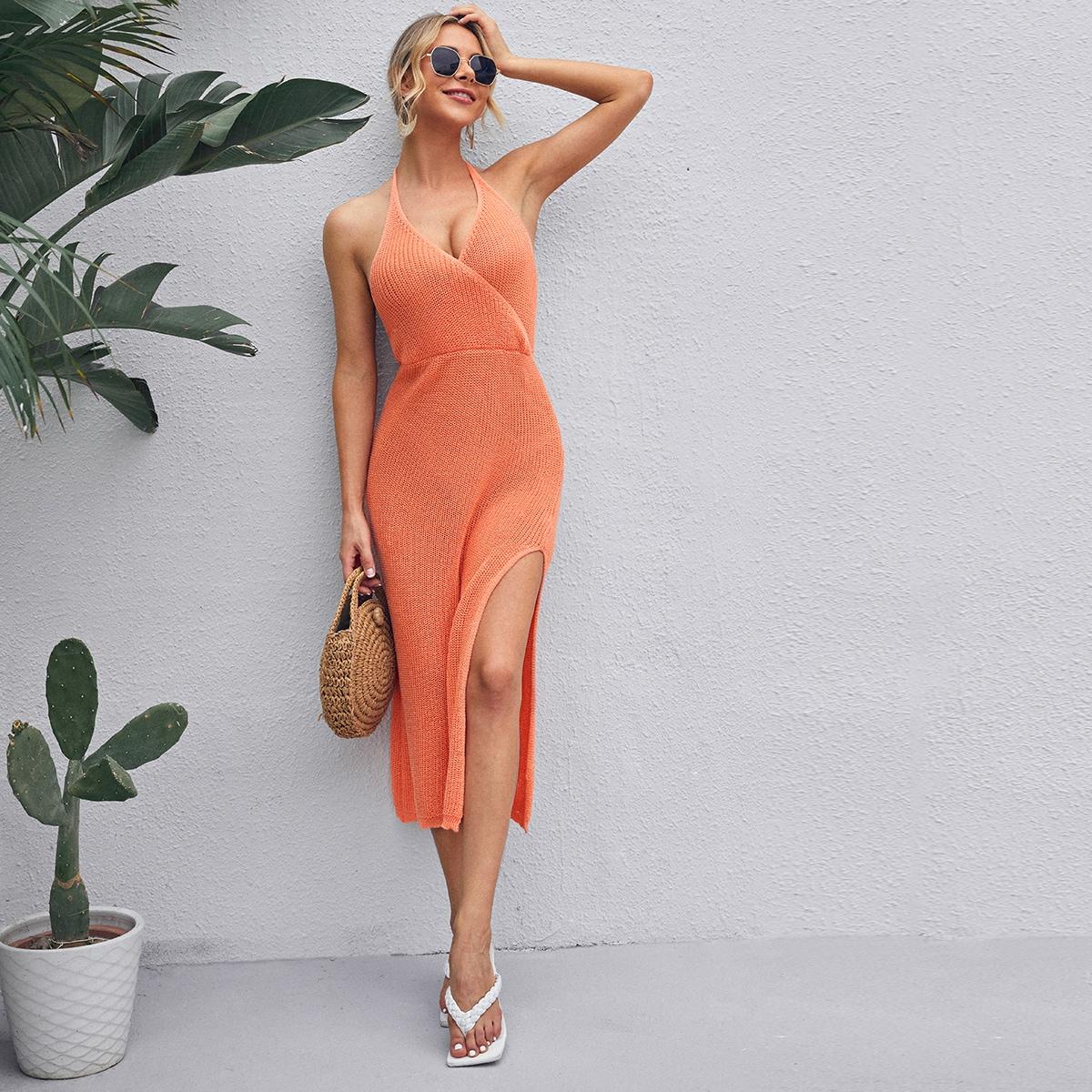 Платье-свитер с вырезом на спине SheIn swdress04210322294