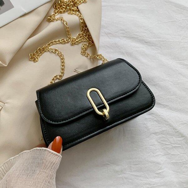 Minimalist Flap Chain Crossbody Bag, Black