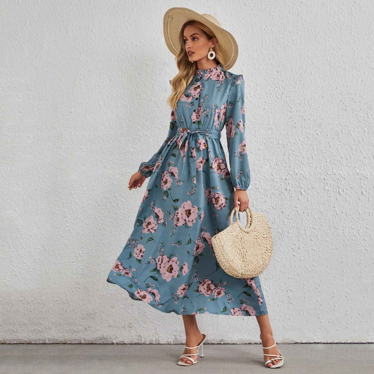 Allover Floral Frill Belted A-line Dress