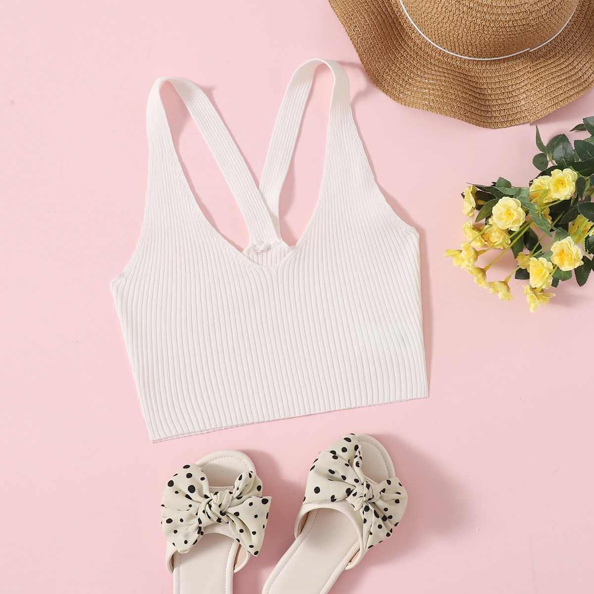 Girls Solid Ribbed Knit Cami Top