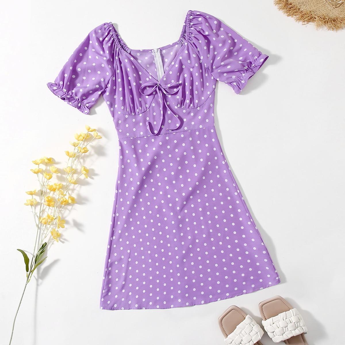 Платье в горошек с глубоким декольте SheIn swdress23210331046