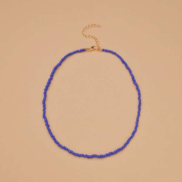 Minimalist Beaded Necklace, Purple
