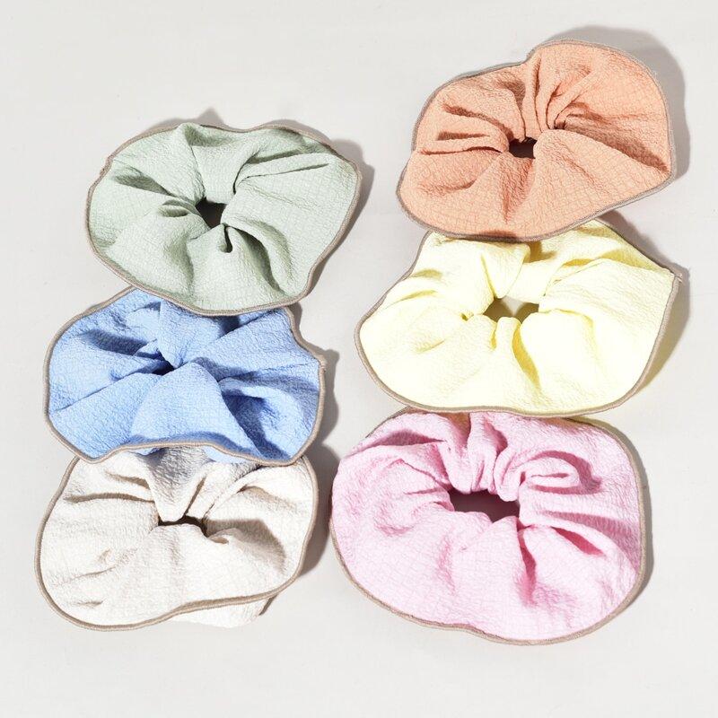 6pcs Contrast Binding Scrunchie, Multicolor