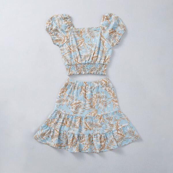 Girls Tropical Print Shirred Blouse & Ruffle Hem Skirt, Multicolor