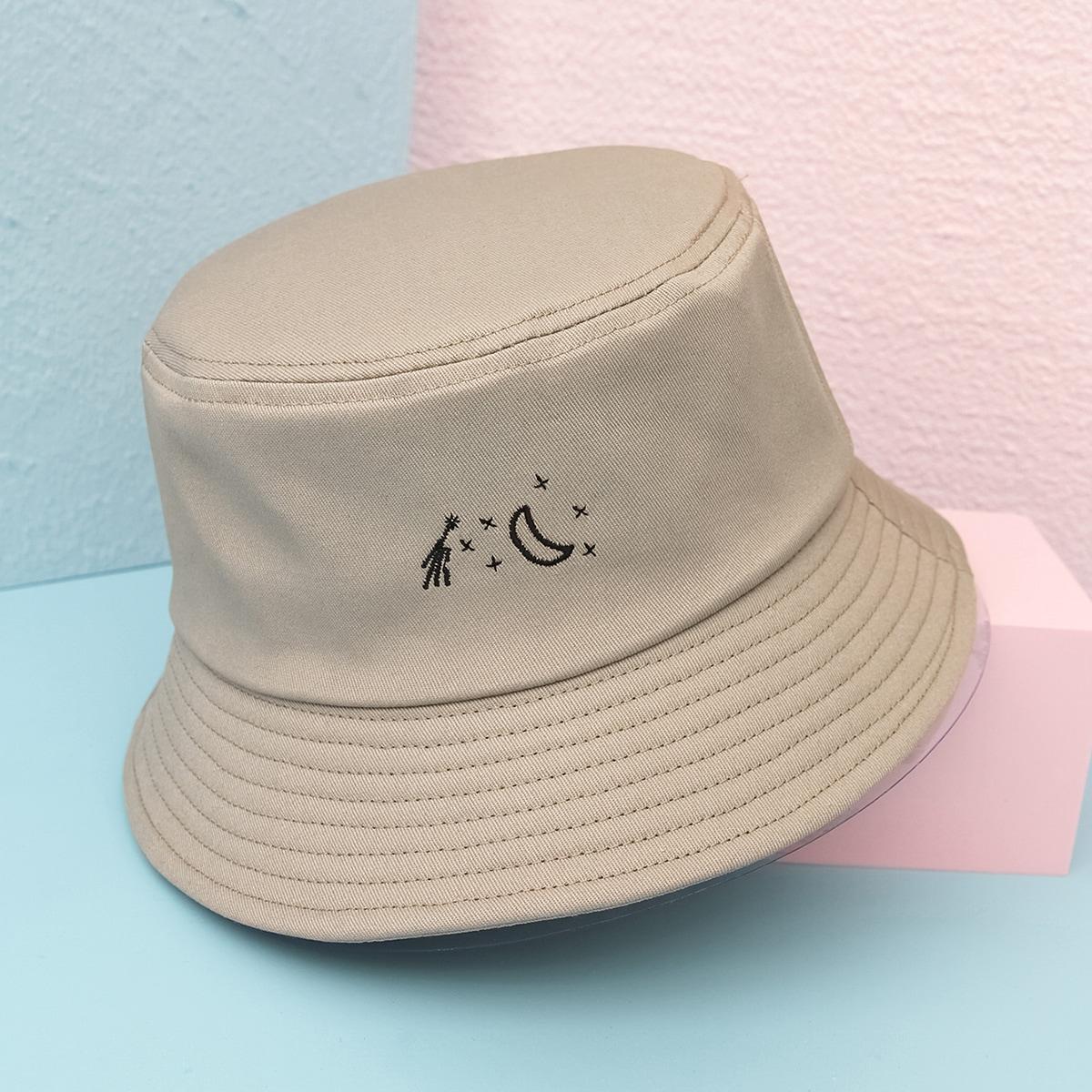 Men Moon Embroidered Bucket Hat