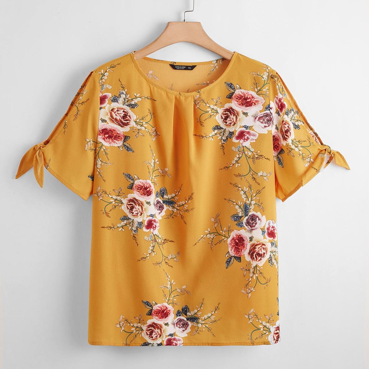 SHEIN Casual Bloemen Grote maat blouse Split