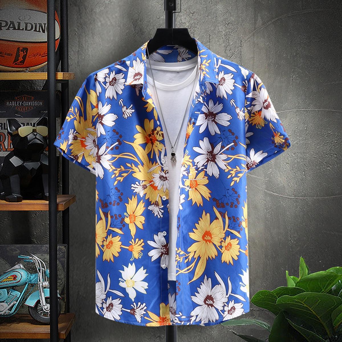 Мужской Рубашка цветочным рисунком на пуговицах без футболки