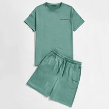 Guys Letter Graphic Tee & Drawstring Track Shorts Set