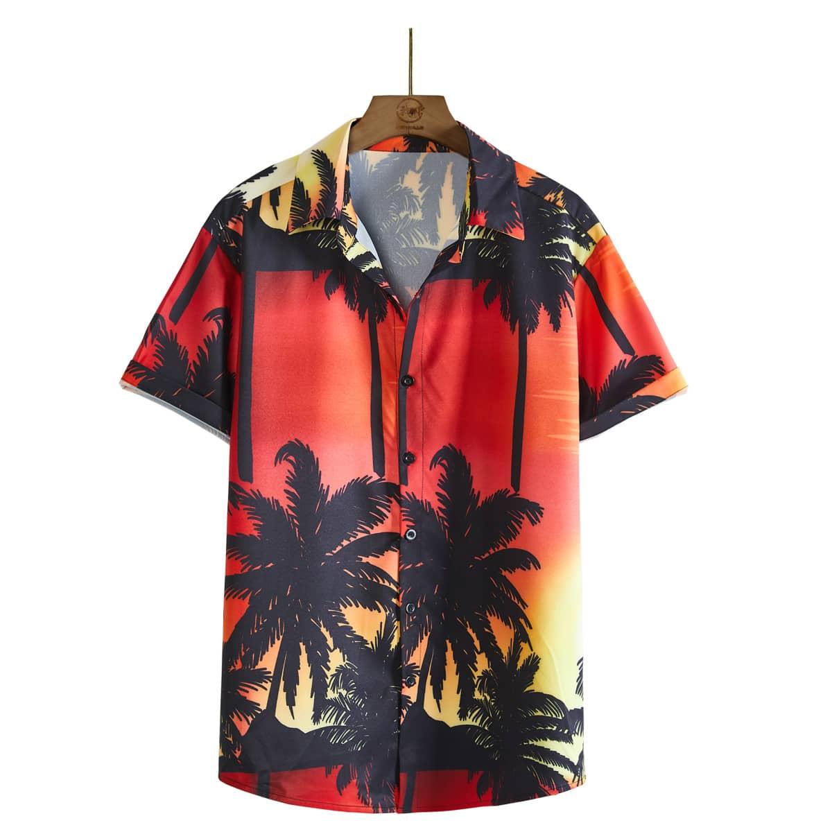 Chemise à imprimé tropical avec boutons