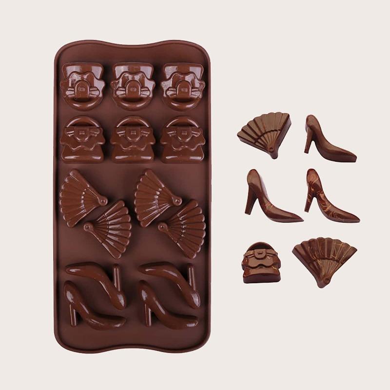1pc 14 Grid Chocolate Mold, Coffee brown