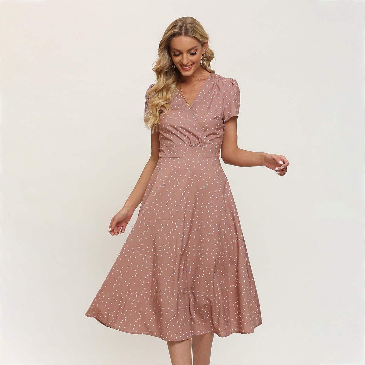 Платье в горошек SheIn swdress31210408482