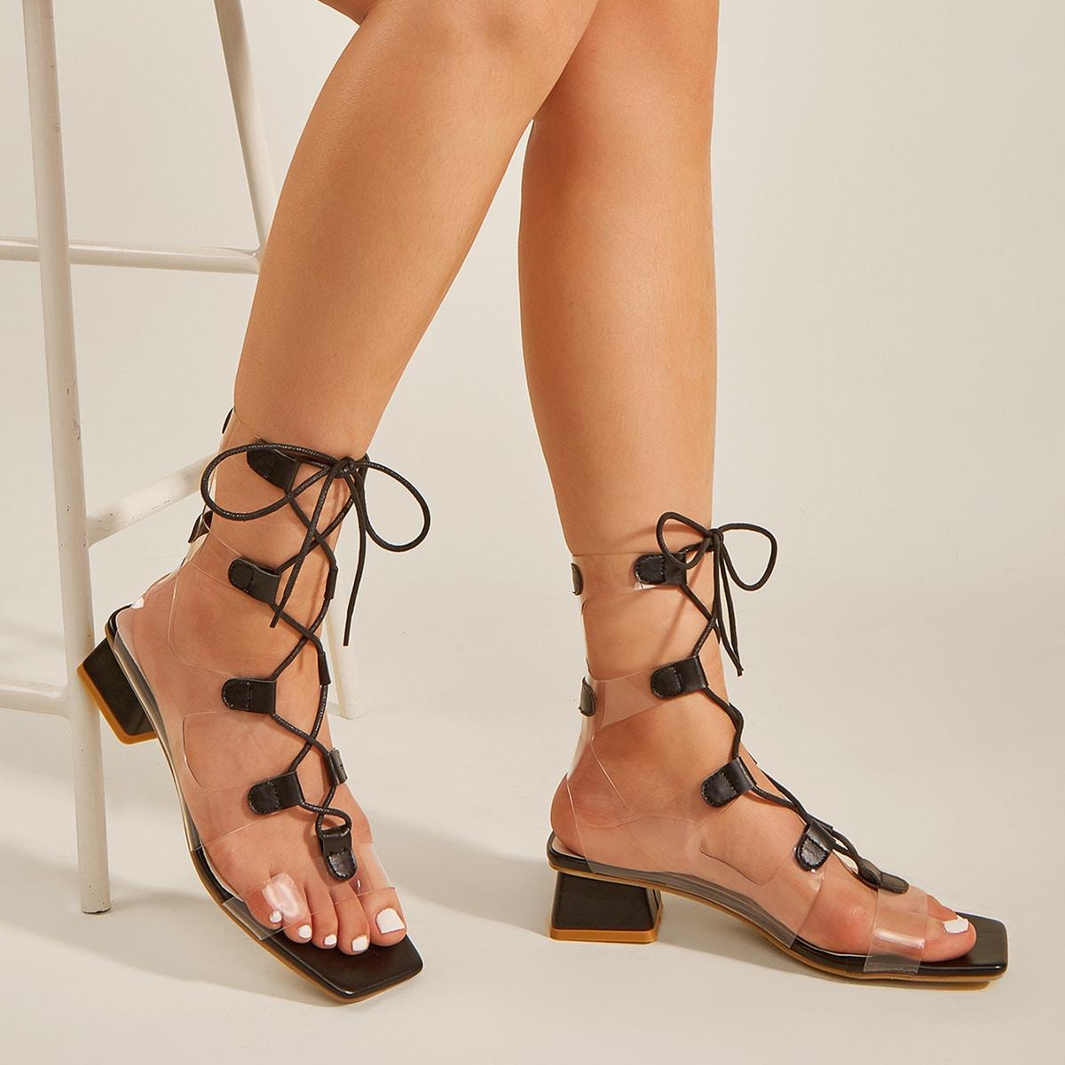 на шнурках Одноцветный Модный Сандалии/босоножки