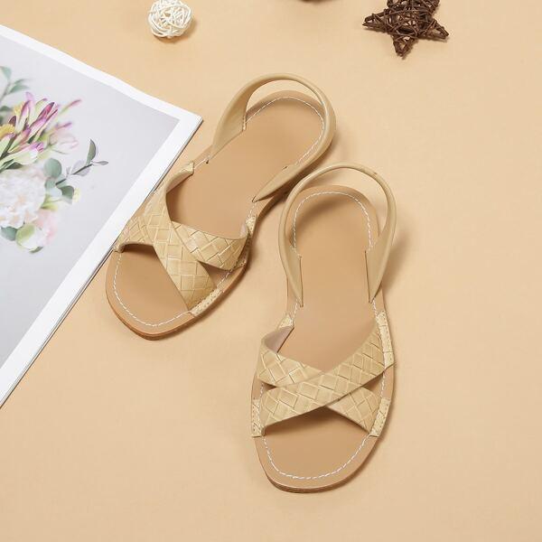 Girls Braided Design Slingback Sandals, Apricot