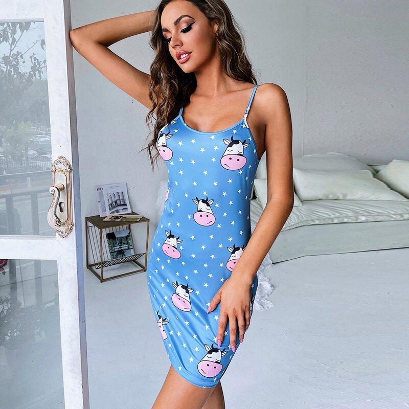 Star & Cow Print Cami Nightdress, Blue