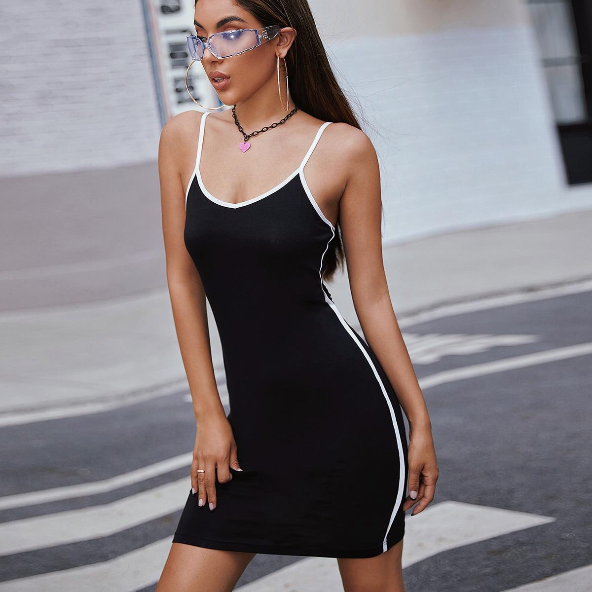 Contrast Binding Cami Dress