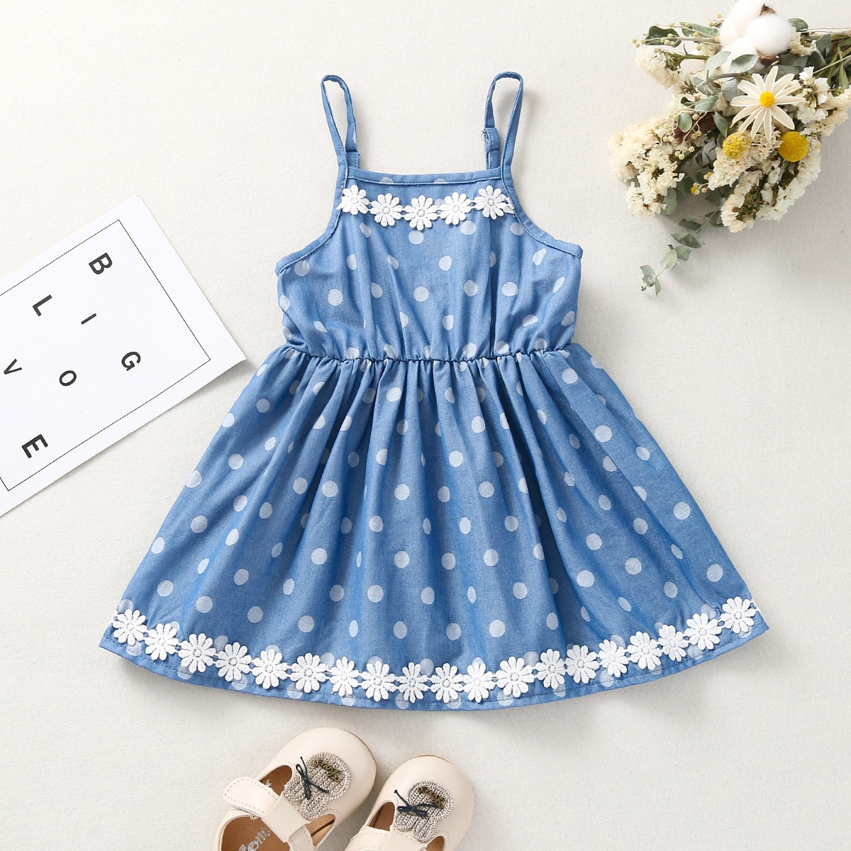 для девочек Джинсовое платье кружевом цветочным рисунком в горошек от SHEIN