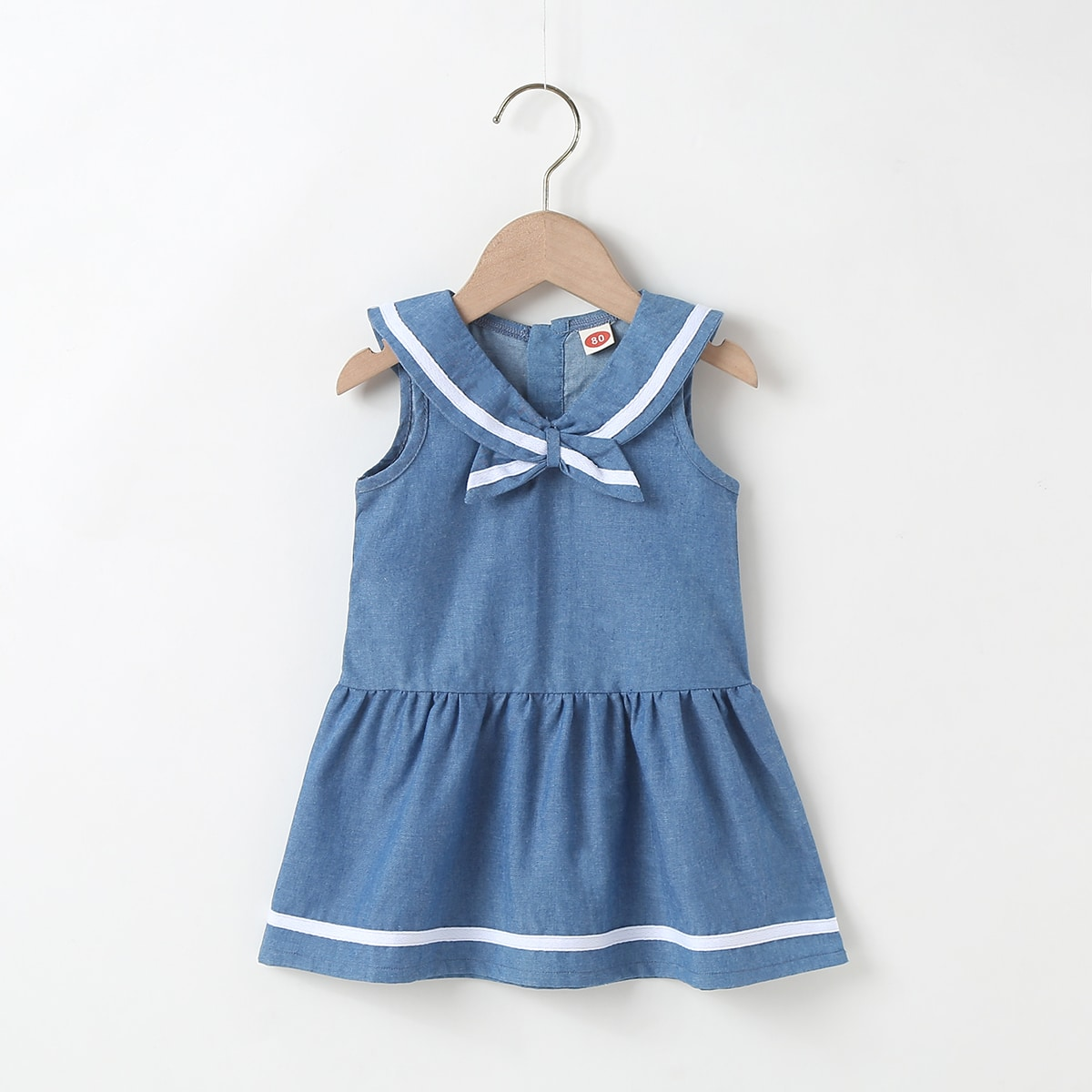 для девочек Джинсовое платье лента с бантом от SHEIN