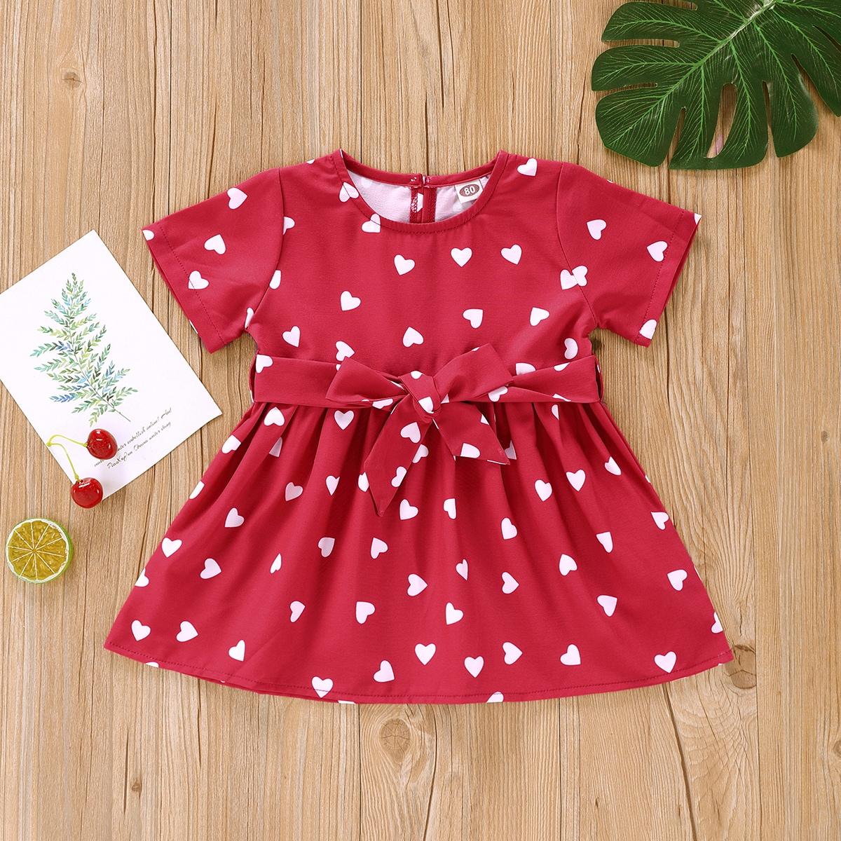Baby Girl Heart Print Belted Smock Dress