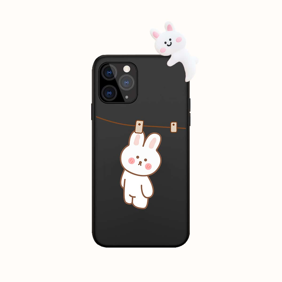 3D Rabbit Decor Cartoon Graphic Phone Case