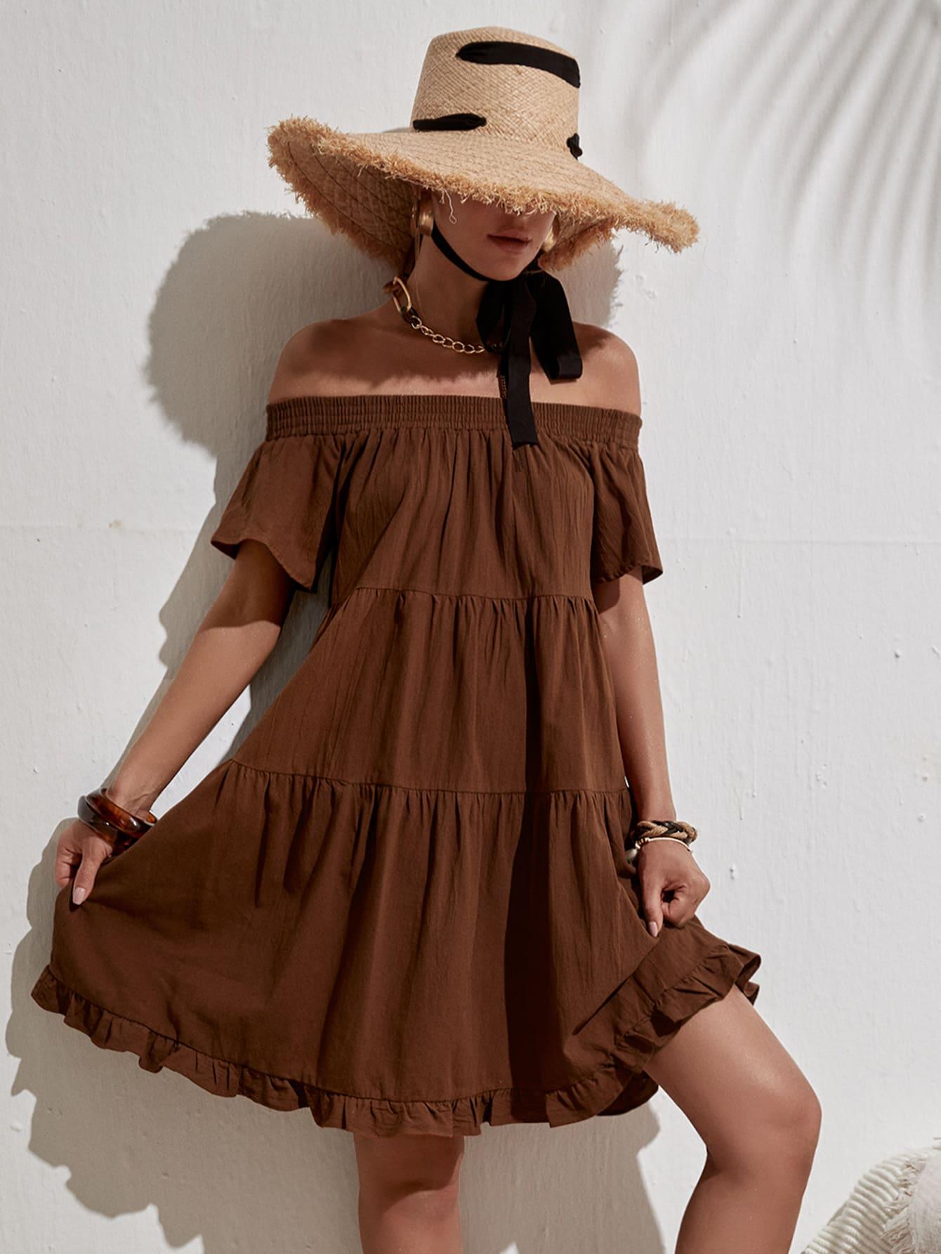 off the shoulder ruffle hem smock dress